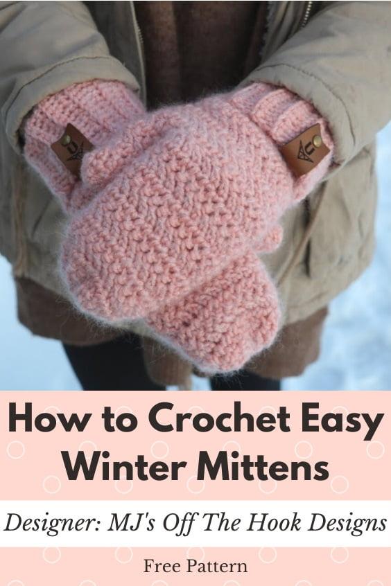 Crochet Winter Mittens Simple Pattern