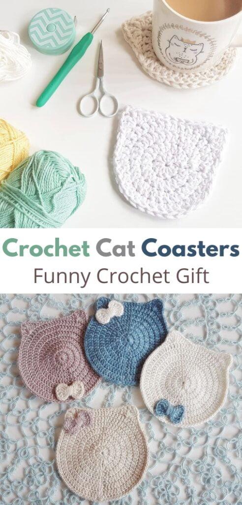 Funny Crochet Gift - Cat Coasters