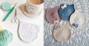 Funny Crochet Gift cat coaster