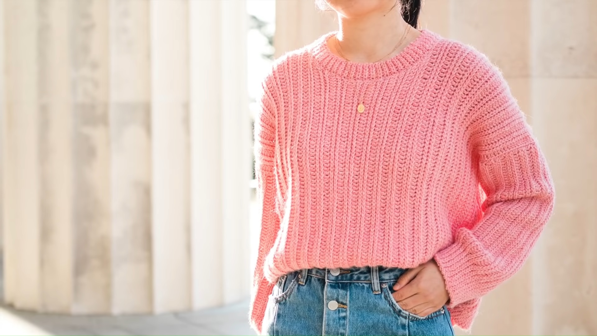 Pink Sweater Crocheting For Free pattern