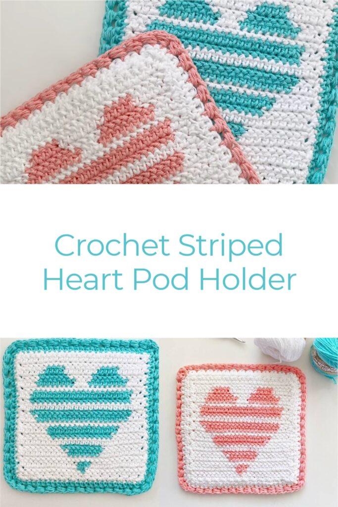 Crochet Striped Heart Pod Holder
