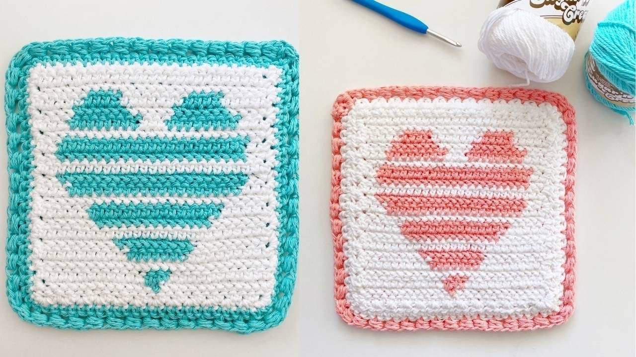 Crochet Striped Heart Pod Holder