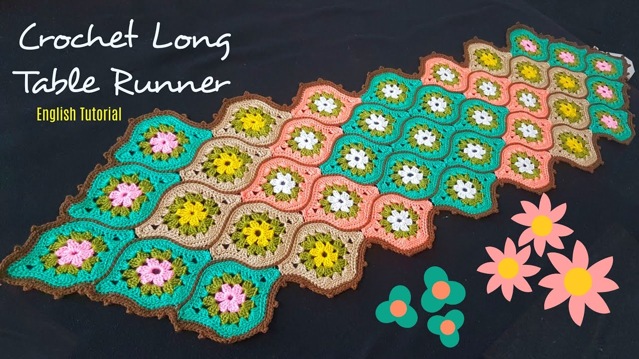 Crochet Long Table Runner with Motifs