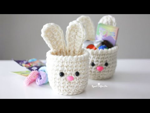 Mini Crochet Bunny Baskets