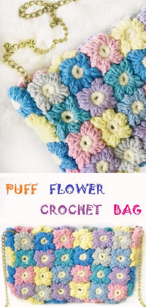 Puff Flower Crochet Bag Free Pattern