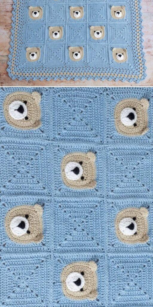 Cute Bear Crochet Baby Blanket